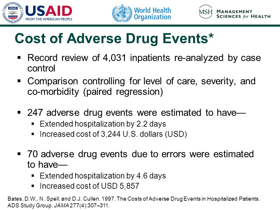 Cost of Adverse Drug Events*  Record review of 4,031 inpatients re-analyzed by case control  Comparison controlling for level of care, severity, and