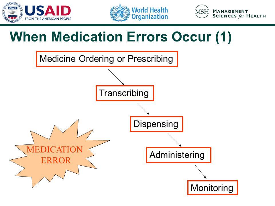 Medicine Ordering or Prescribing Transcribing Dispensing Administering Monitoring MEDICATION ERROR When Medication Errors Occur (1)