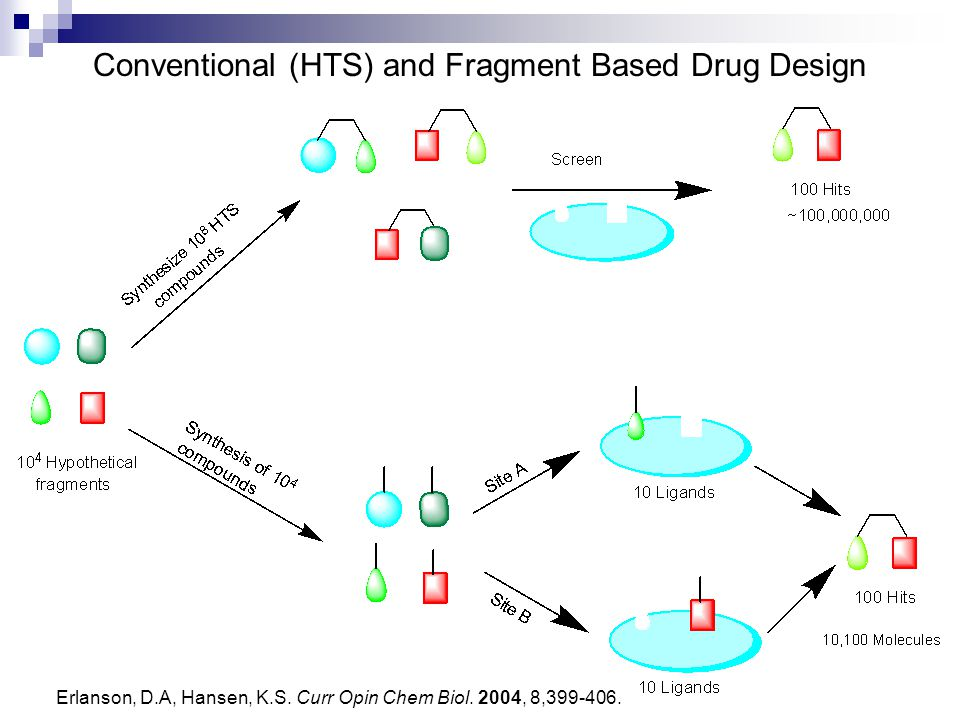 Conventional (HTS) and Fragment Based Drug Design Erlanson, D.A, Hansen, K.S. Curr Opin Chem Biol. 2004, 8,399-406.