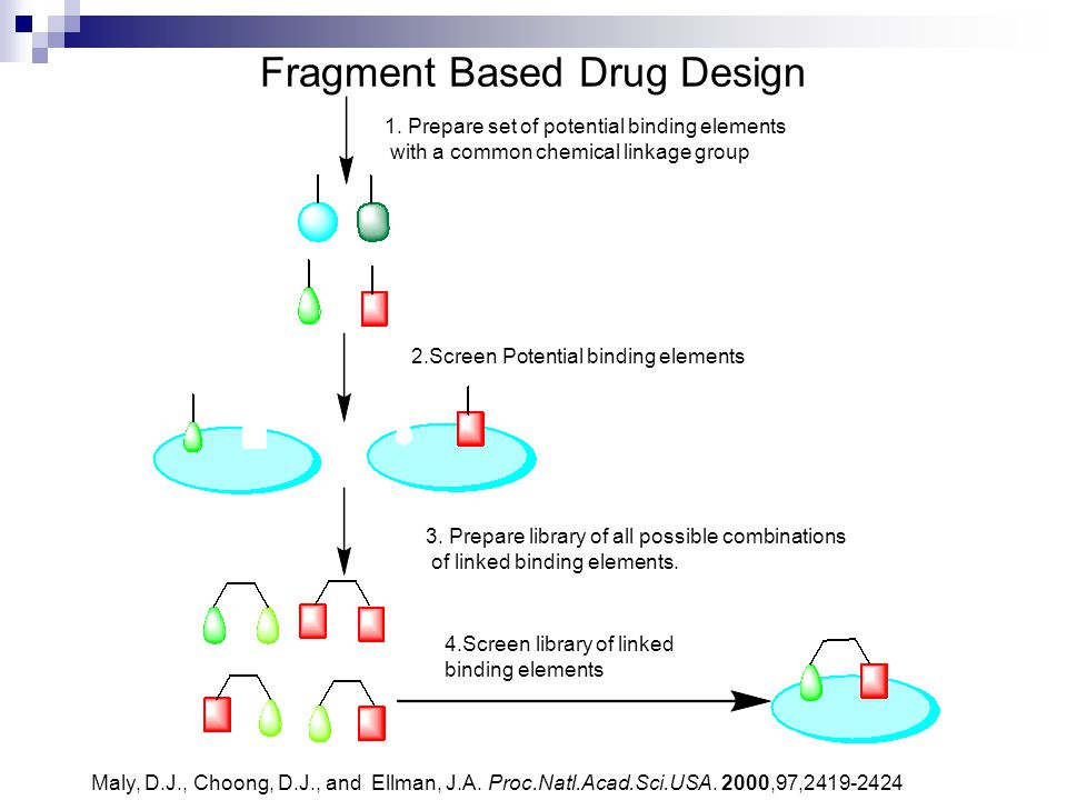 Fragment Based Drug Design 1. Prepare set of potential binding elements with a common chemical linkage group 2.Screen Potential binding elements 3. Pr