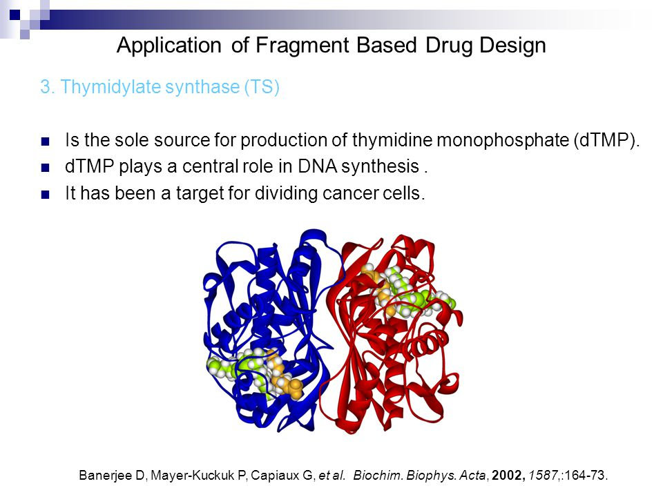 Application of Fragment Based Drug Design 3. Thymidylate synthase (TS) Is the sole source for production of thymidine monophosphate (dTMP). dTMP plays