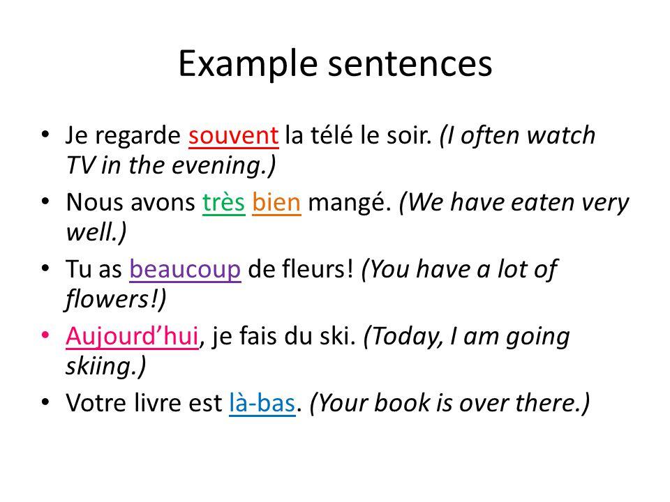 Example sentences Je regarde souvent la télé le soir.
