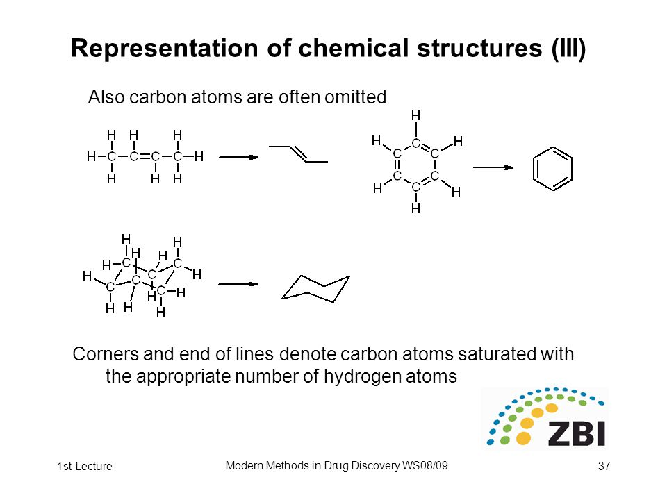 1st Lecture Modern Methods in Drug Discovery WS08/09 37 Representation of chemical structures (III) Also carbon atoms are often omitted Corners and end of lines denote carbon atoms saturated with the appropriate number of hydrogen atoms