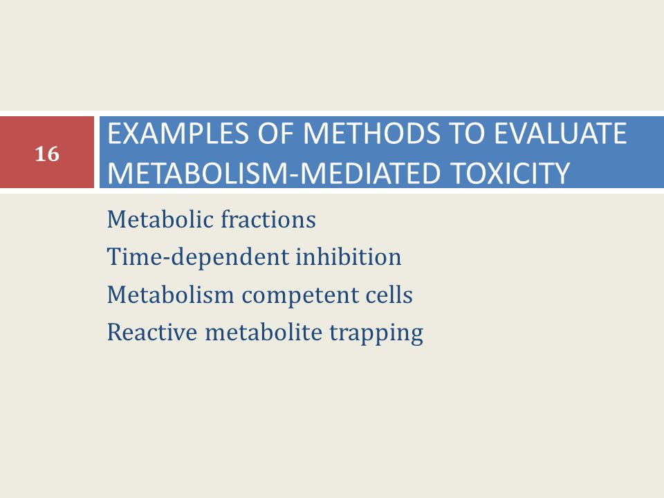 Metabolic fractions Time-dependent inhibition Metabolism competent cells Reactive metabolite trapping EXAMPLES OF METHODS TO EVALUATE METABOLISM-MEDIA