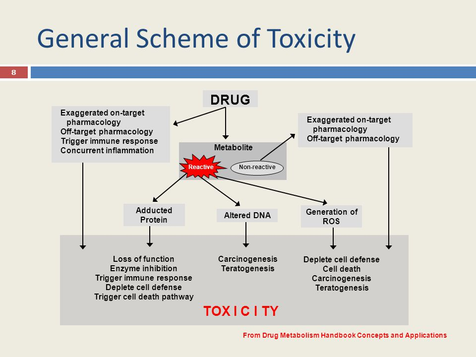 General Scheme of Toxicity 8 DRUG Carcinogenesis Teratogenesis Deplete cell defense Cell death Carcinogenesis Teratogenesis Loss of function Enzyme in