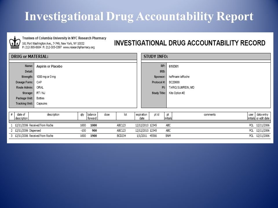 Investigational Drug Accountability Report