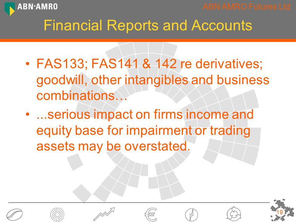 ABN AMRO Futures Ltd 19 Financial Reports and Accounts FAS133; FAS141 & 142 re derivatives; goodwill, other intangibles and business combinations…...serious impact on firms income and equity base for impairment or trading assets may be overstated.