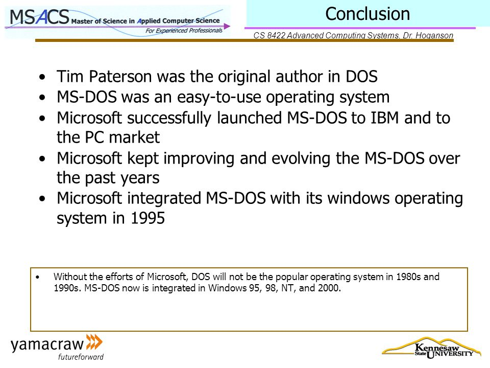 CS 8422 Advanced Computing Systems, Dr.