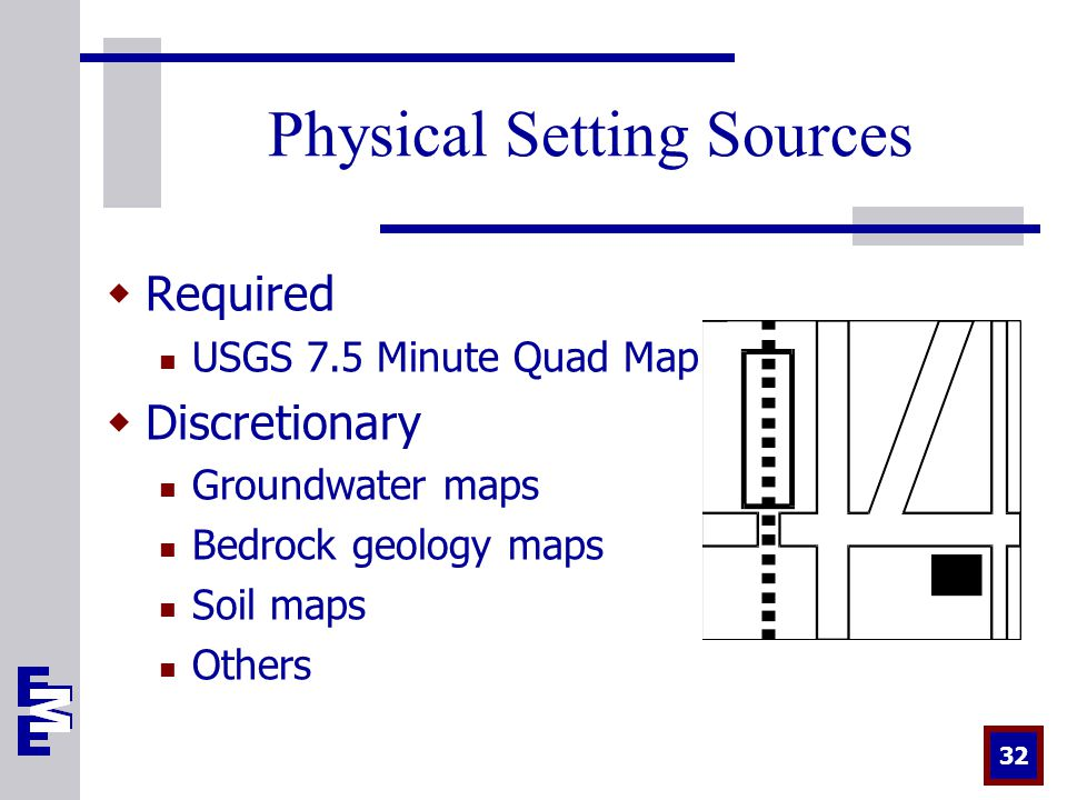 32 Physical Setting Sources  Required USGS 7.5 Minute Quad Map  Discretionary Groundwater maps Bedrock geology maps Soil maps Others