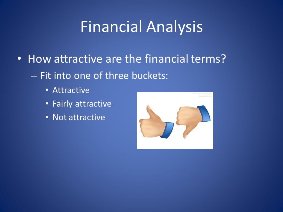 Financial Analysis How attractive are the financial terms.