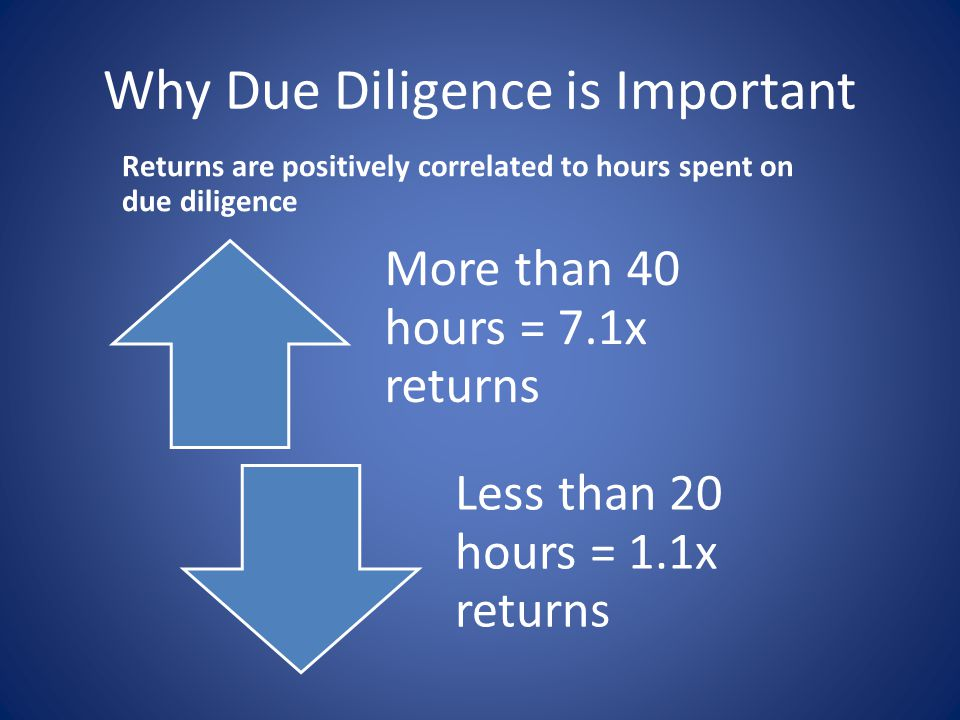 What is the right amount of due diligence.