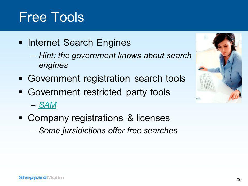Free Tools  Internet Search Engines –Hint: the government knows about search engines  Government registration search tools  Government restricted p