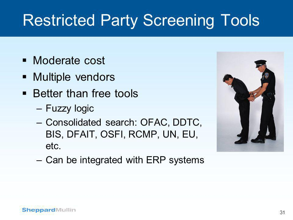 Restricted Party Screening Tools  Moderate cost  Multiple vendors  Better than free tools –Fuzzy logic –Consolidated search: OFAC, DDTC, BIS, DFAIT
