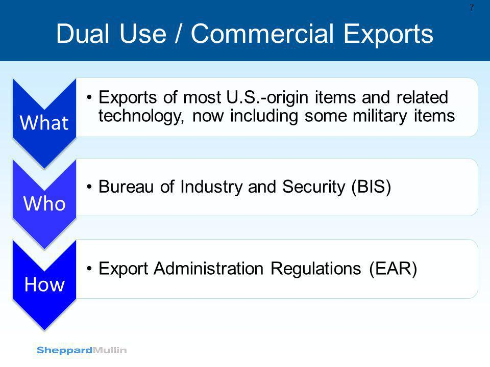 Dual Use / Commercial Exports 7 What Exports of most U.S.-origin items and related technology, now including some military items Who Bureau of Industr
