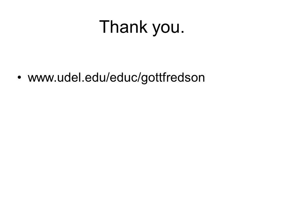 Thank you. www.udel.edu/educ/gottfredson