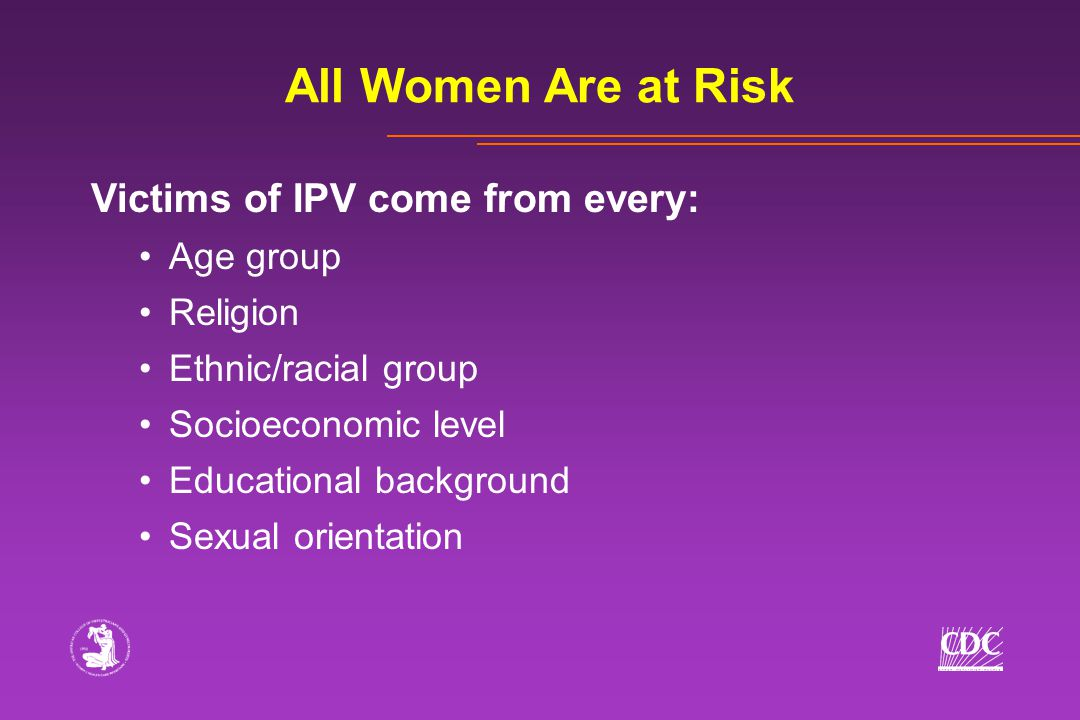 Victims of IPV come from every: Age group Religion Ethnic/racial group Socioeconomic level Educational background Sexual orientation All Women Are at Risk