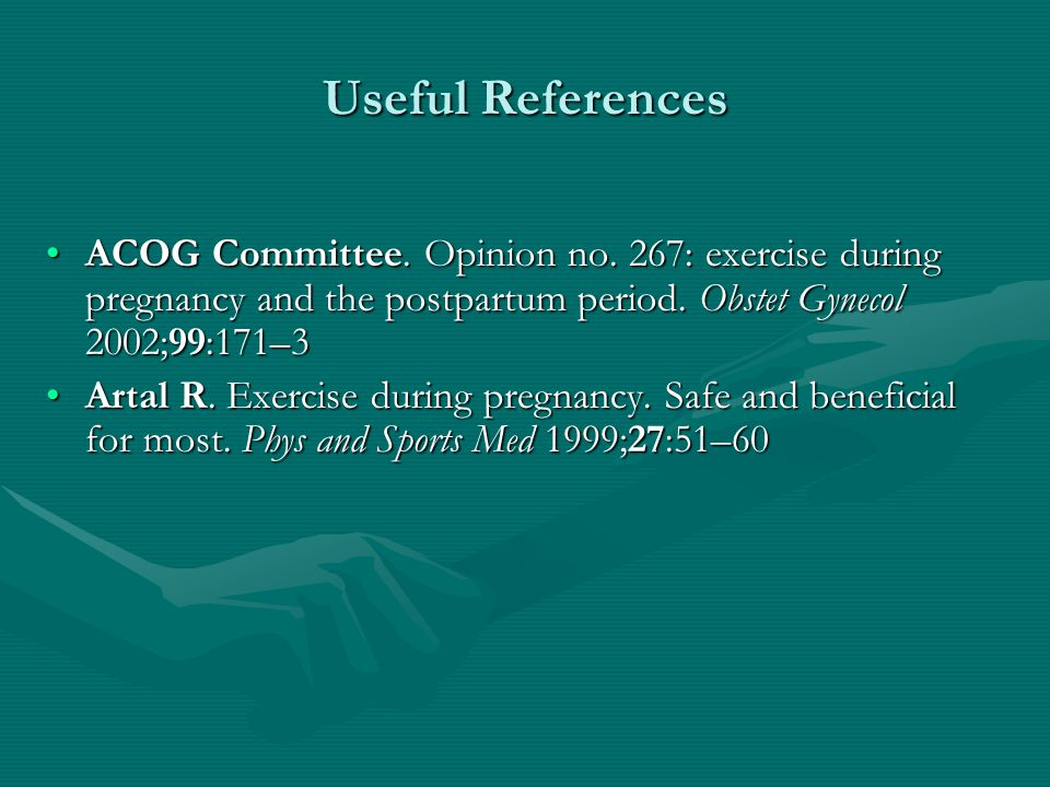 Changing Thermal Response to Endurance Exercise in Pregnancy 18 well-trained recreational athletes18 well-trained recreational athletes 20 minutes of cycling at room temperature & 60-65% VO 2 max20 minutes of cycling at room temperature & 60-65% VO 2 max Maximum core temperature achieved during cycling decreased throughout gestationMaximum core temperature achieved during cycling decreased throughout gestation Appear to be related to a increased vasodilation & increased sweatingAppear to be related to a increased vasodilation & increased sweating Am J Obstet Gynecol.