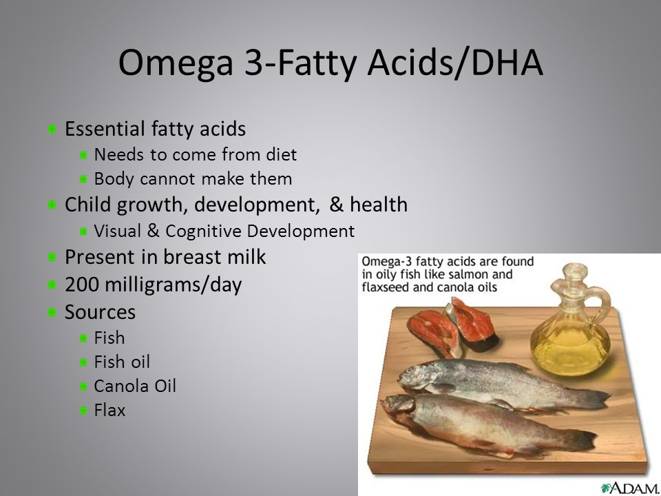 Omega 3-Fatty Acids/DHA Essential fatty acids Needs to come from diet Body cannot make them Child growth, development, & health Visual & Cognitive Development Present in breast milk 200 milligrams/day Sources Fish Fish oil Canola Oil Flax