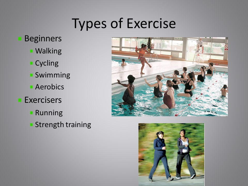 Types of Exercise Beginners Walking Cycling Swimming Aerobics Exercisers Running Strength training