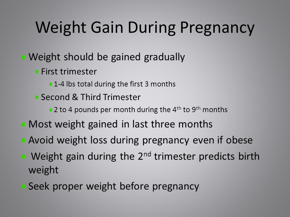 Weight Gain During Pregnancy Weight should be gained gradually First trimester 1-4 lbs total during the first 3 months Second & Third Trimester 2 to 4 pounds per month during the 4 th to 9 th months Most weight gained in last three months Avoid weight loss during pregnancy even if obese Weight gain during the 2 nd trimester predicts birth weight Seek proper weight before pregnancy