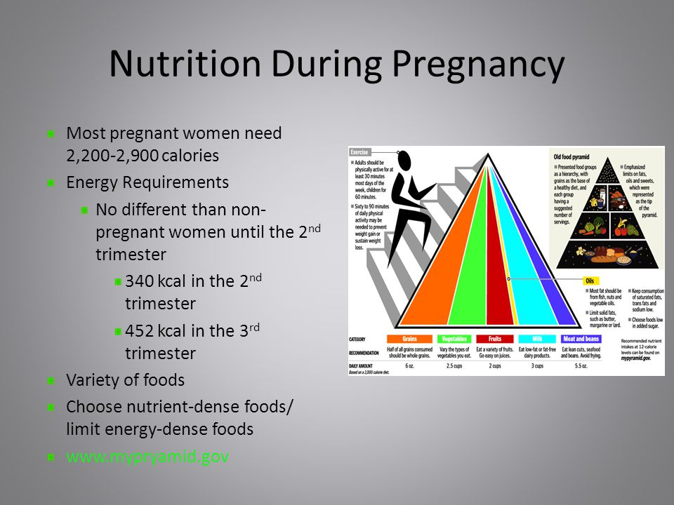 Nutrition During Pregnancy Most pregnant women need 2,200-2,900 calories Energy Requirements No different than non- pregnant women until the 2 nd trimester 340 kcal in the 2 nd trimester 452 kcal in the 3 rd trimester Variety of foods Choose nutrient-dense foods/ limit energy-dense foods www.mypryamid.gov