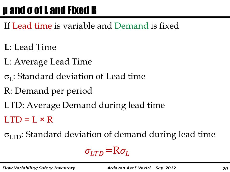20 Ardavan Asef-Vaziri Sep-2012Flow Variability; Safety Inventory If Lead time is variable and Demand is fixed L : Lead Time L: Average Lead Time  L