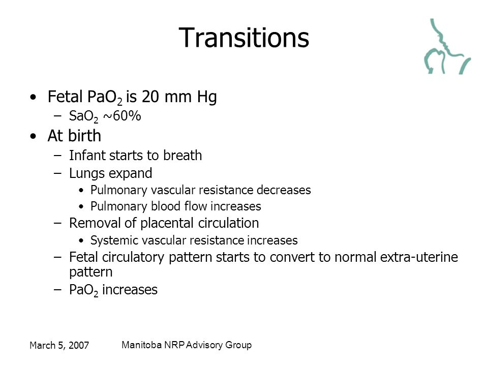 March 5, 2007Manitoba NRP Advisory Group Transitions Fetal PaO 2 is 20 mm Hg –SaO 2 ~60% At birth –Infant starts to breath –Lungs expand Pulmonary vascular resistance decreases Pulmonary blood flow increases –Removal of placental circulation Systemic vascular resistance increases –Fetal circulatory pattern starts to convert to normal extra-uterine pattern –PaO 2 increases