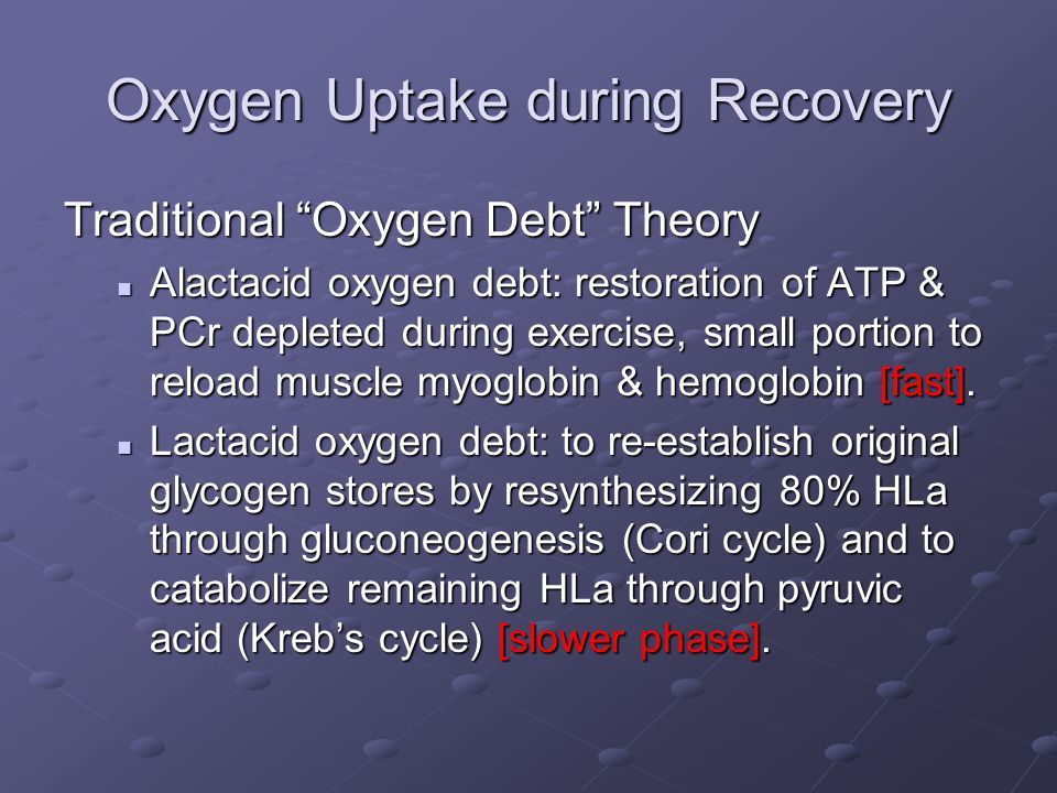 """Oxygen Uptake during Recovery Traditional """"Oxygen Debt"""" Theory Alactacid oxygen debt: restoration of ATP & PCr depleted during exercise, small portion"""