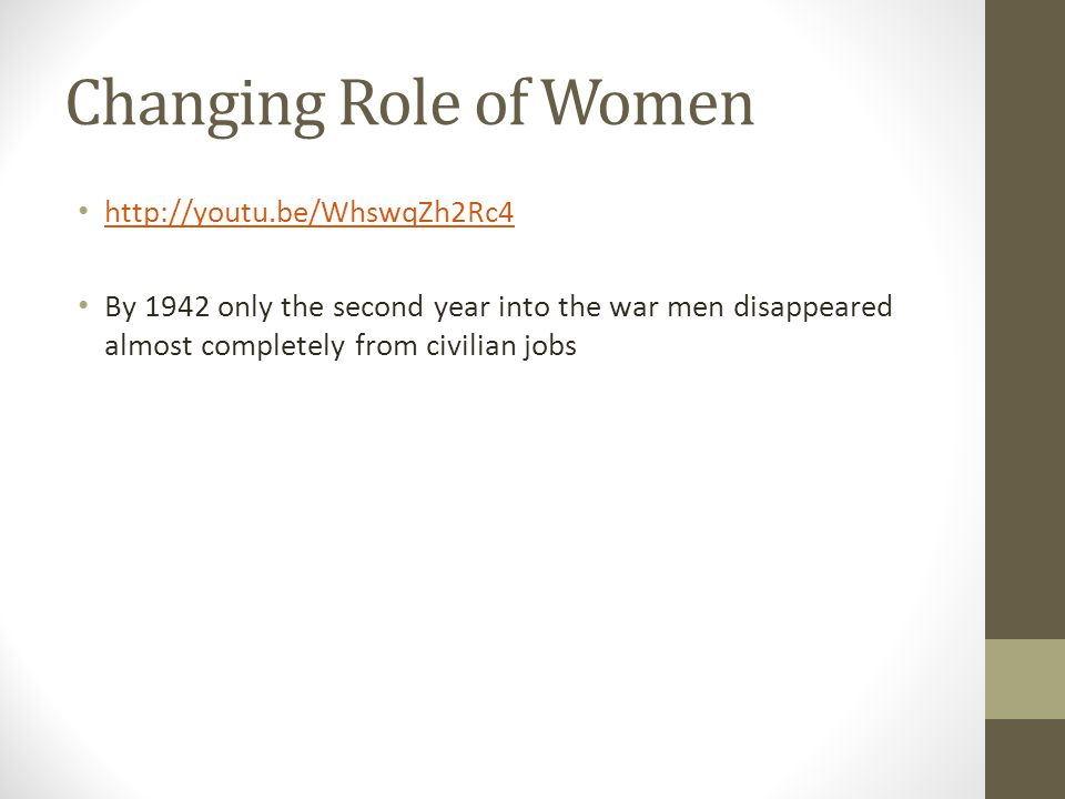 Changing Role of Women http://youtu.be/WhswqZh2Rc4 By 1942 only the second year into the war men disappeared almost completely from civilian jobs