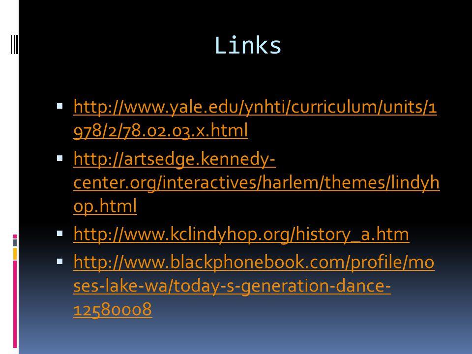 Links  http://www.yale.edu/ynhti/curriculum/units/1 978/2/78.02.03.x.html http://www.yale.edu/ynhti/curriculum/units/1 978/2/78.02.03.x.html  http://artsedge.kennedy- center.org/interactives/harlem/themes/lindyh op.html http://artsedge.kennedy- center.org/interactives/harlem/themes/lindyh op.html  http://www.kclindyhop.org/history_a.htm http://www.kclindyhop.org/history_a.htm  http://www.blackphonebook.com/profile/mo ses-lake-wa/today-s-generation-dance- 12580008 http://www.blackphonebook.com/profile/mo ses-lake-wa/today-s-generation-dance- 12580008