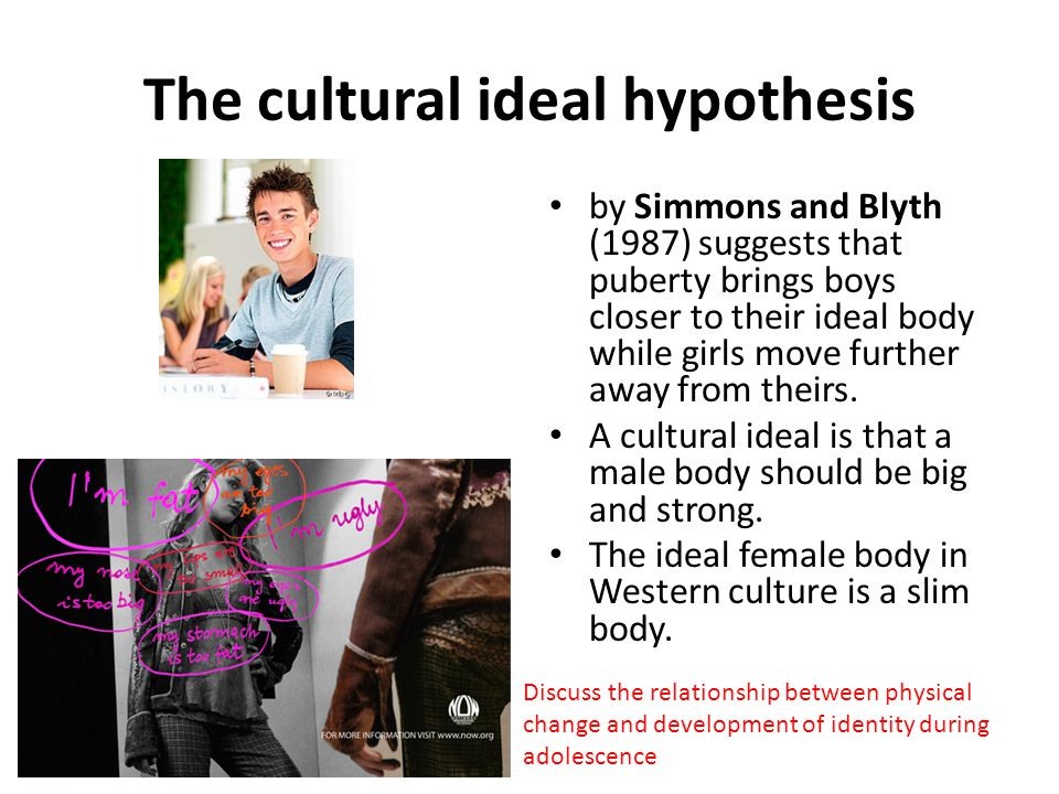 The cultural ideal hypothesis by Simmons and Blyth (1987) suggests that puberty brings boys closer to their ideal body while girls move further away f