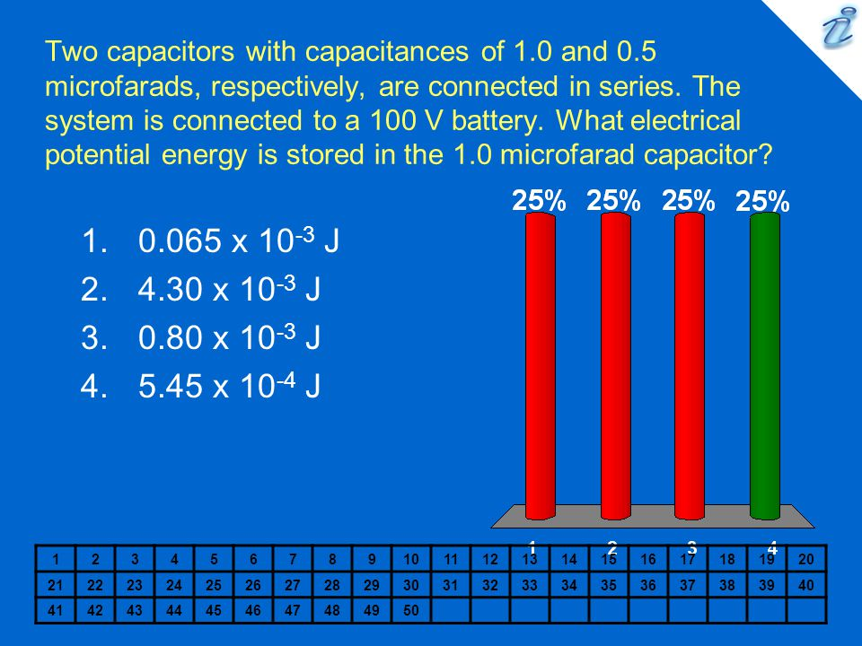 Two capacitors with capacitances of 1.0 and 0.5 microfarads, respectively, are connected in series. The system is connected to a 100 V battery. What e