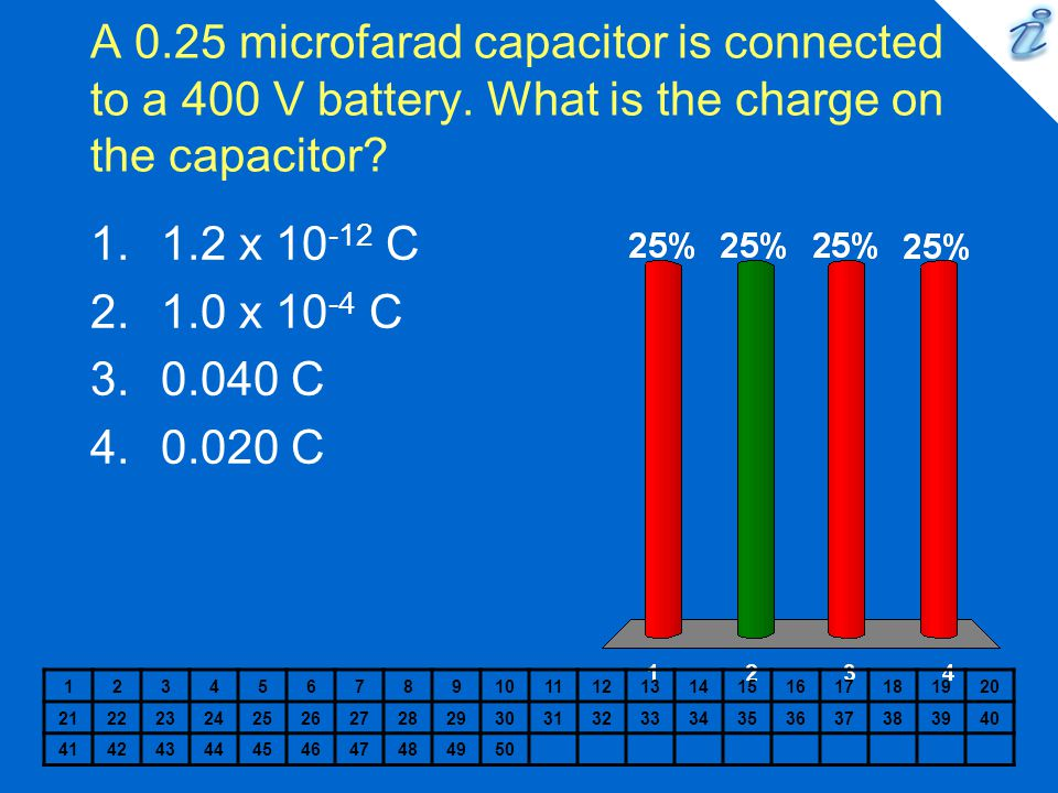 A 0.25 microfarad capacitor is connected to a 400 V battery. What is the charge on the capacitor? 1234567891011121314151617181920 21222324252627282930