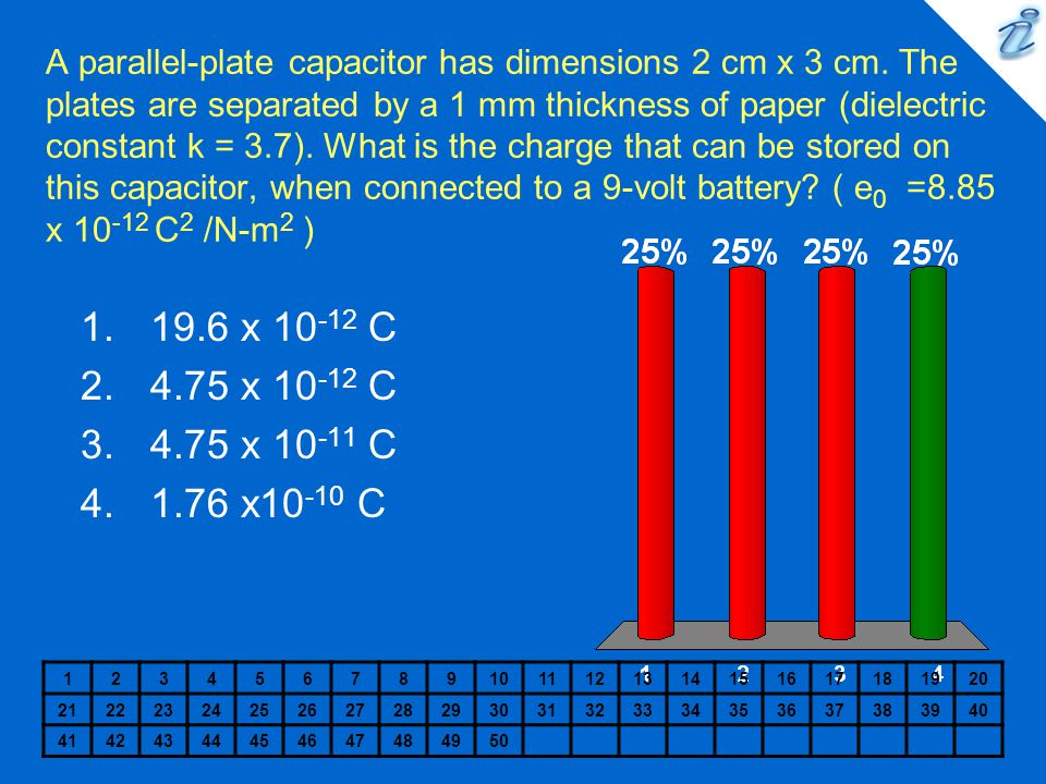 A parallel-plate capacitor has dimensions 2 cm x 3 cm. The plates are separated by a 1 mm thickness of paper (dielectric constant k = 3.7). What is th