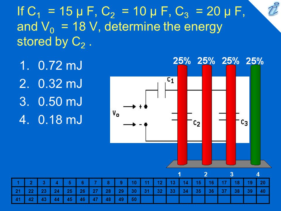 If C 1 = 15 µ F, C 2 = 10 µ F, C 3 = 20 µ F, and V 0 = 18 V, determine the energy stored by C 2. 1234567891011121314151617181920 212223242526272829303