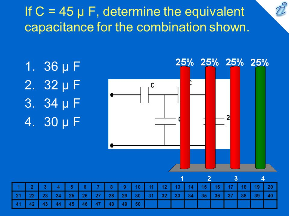 If C = 45 µ F, determine the equivalent capacitance for the combination shown. 1234567891011121314151617181920 212223242526272829303132333435363738394