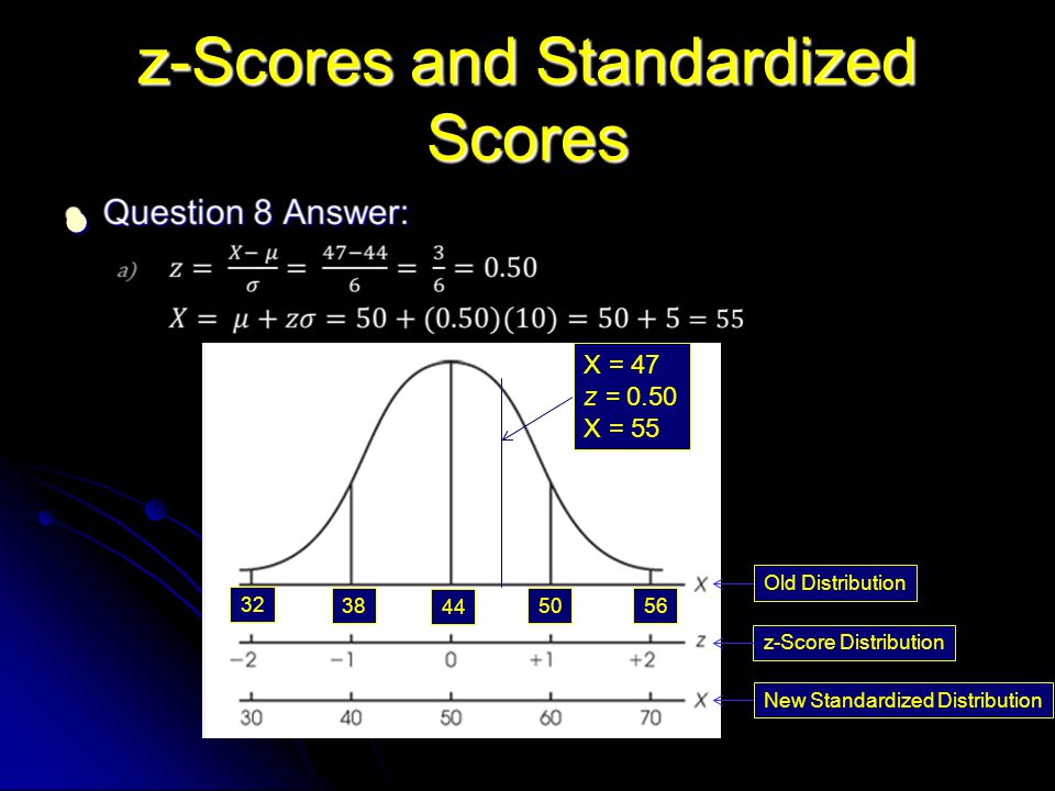 z-Scores and Standardized Scores X = 47 z = 0.50 X = 55 Old Distribution z-Score Distribution New Standardized Distribution