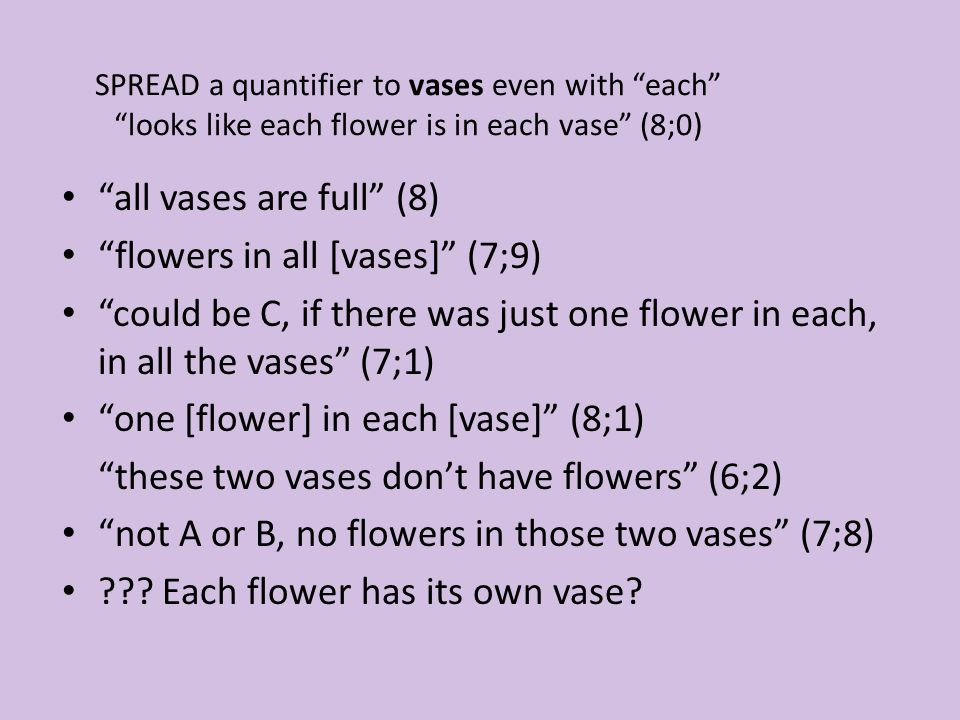 SPREAD a quantifier to vases even with each looks like each flower is in each vase (8;0) all vases are full (8) flowers in all [vases] (7;9) could be C, if there was just one flower in each, in all the vases (7;1) one [flower] in each [vase] (8;1) these two vases don't have flowers (6;2) not A or B, no flowers in those two vases (7;8) .
