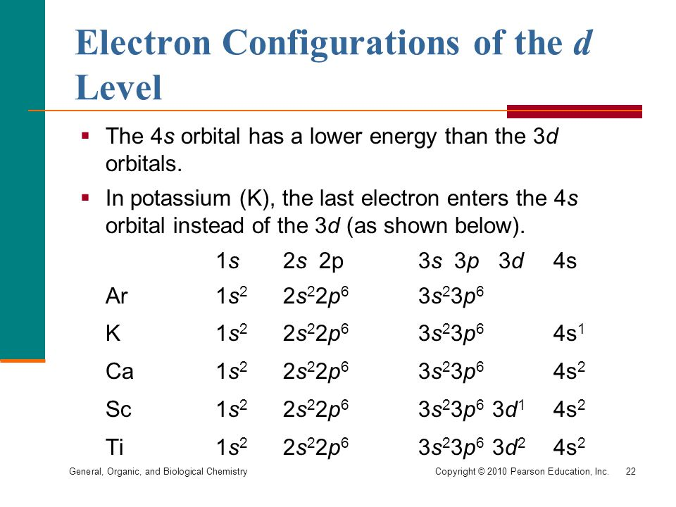 General, Organic, and Biological Chemistry Copyright © 2010 Pearson Education, Inc.22  The 4s orbital has a lower energy than the 3d orbitals.
