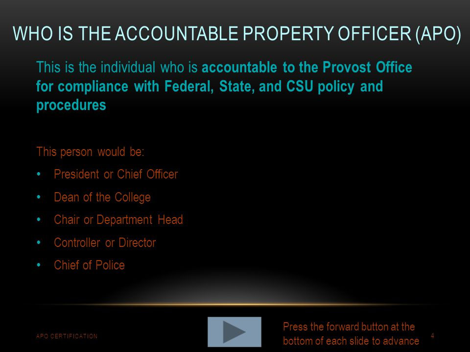 DEFINITION OF ROLES APO CERTIFICATION 5 The term Officer s refers to the President, other Officers of the University, and Officers of the Administration.
