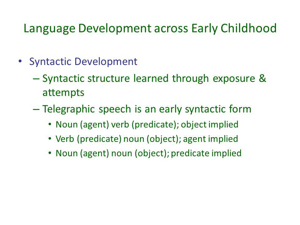 Language Development across Early Childhood Syntactic Development – Syntactic structure learned through exposure & attempts – Telegraphic speech is an