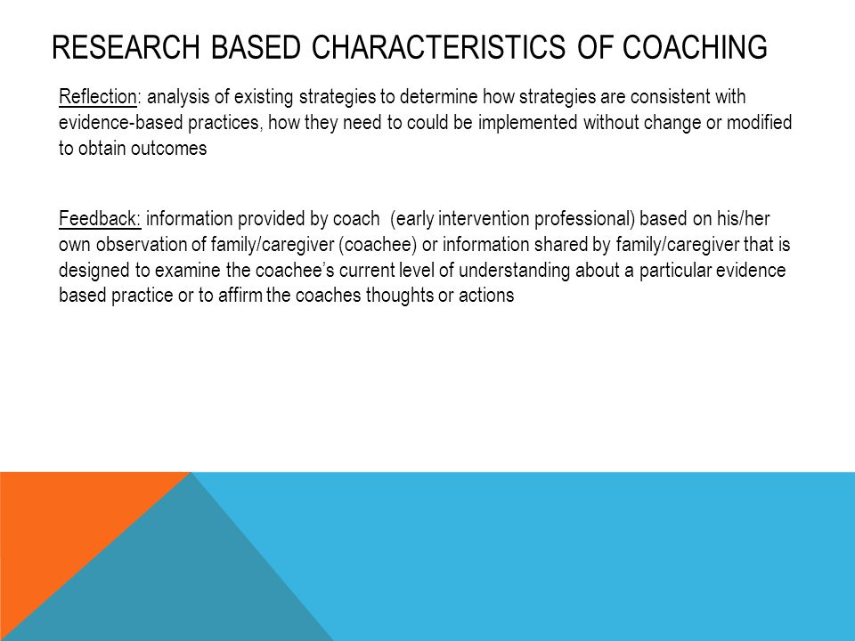 RESEARCH BASED CHARACTERISTICS OF COACHING Reflection: analysis of existing strategies to determine how strategies are consistent with evidence-based