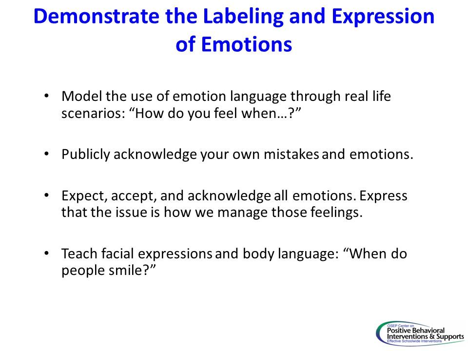 Demonstrate the Labeling and Expression of Emotions Photos of people in various emotional states.