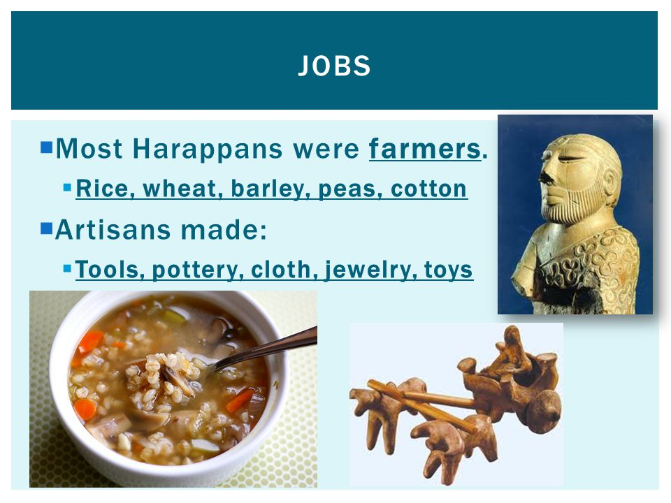  Most Harappans were farmers.