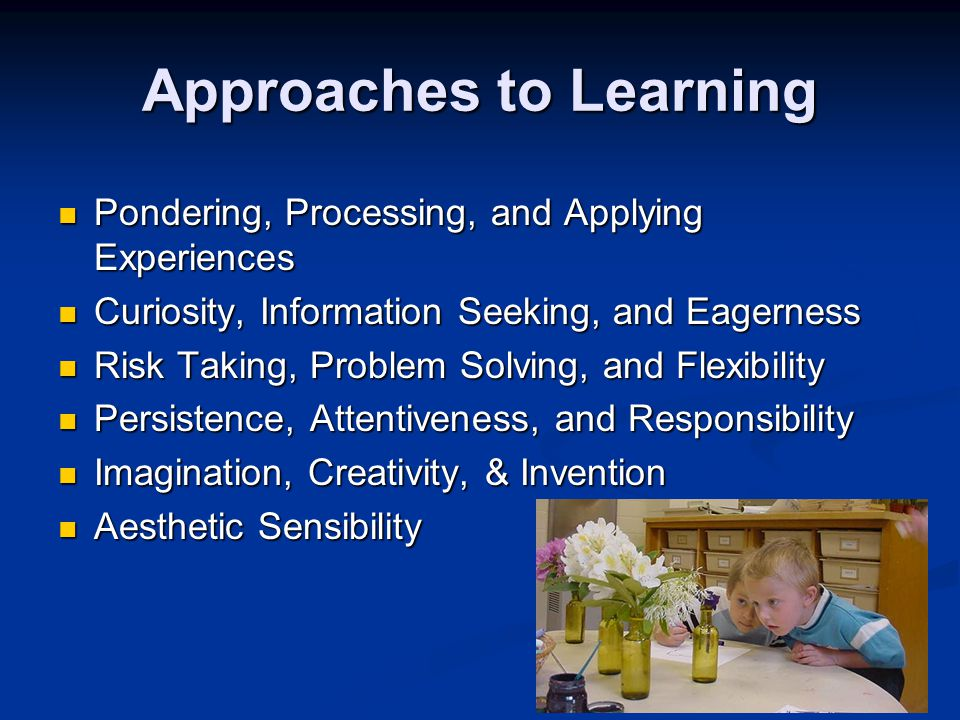 19 Approaches to Learning Pondering, Processing, and Applying Experiences Pondering, Processing, and Applying Experiences Curiosity, Information Seeki