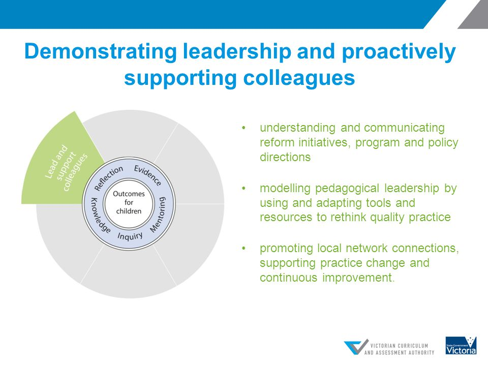 Demonstrating leadership and proactively supporting colleagues understanding and communicating reform initiatives, program and policy directions model