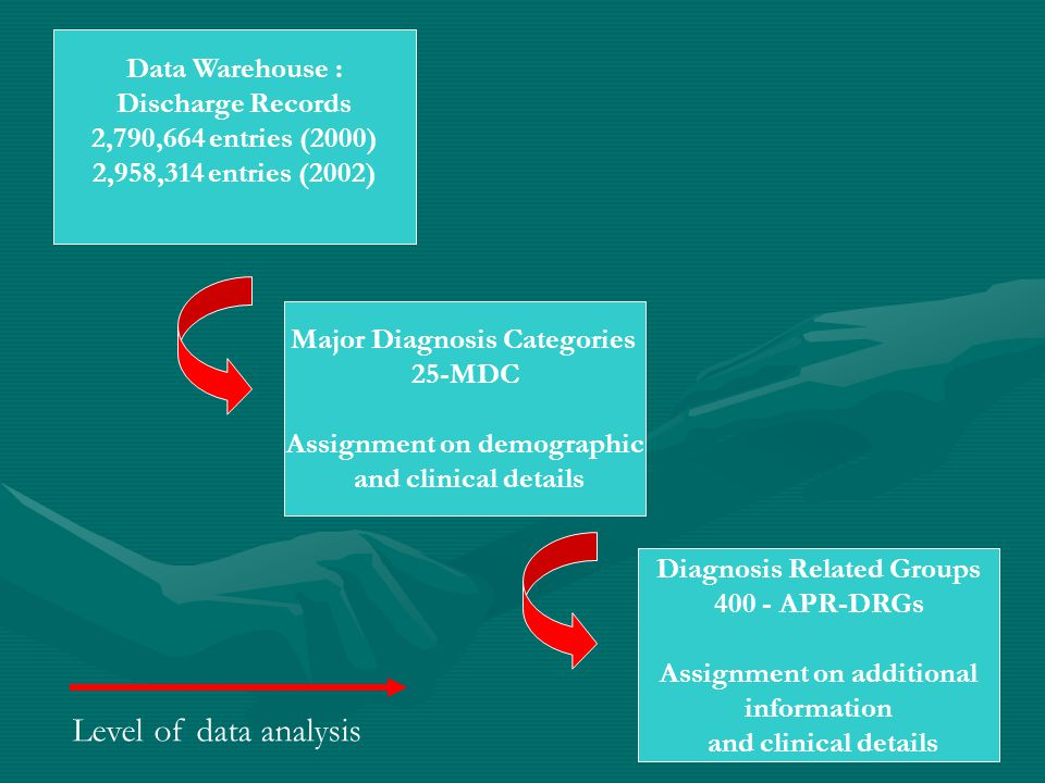 Data Warehouse : Discharge Records 2,790,664 entries (2000) 2,958,314 entries (2002) Major Diagnosis Categories 25-MDC Assignment on demographic and clinical details Diagnosis Related Groups 400 - APR-DRGs Assignment on additional information and clinical details Level of data analysis