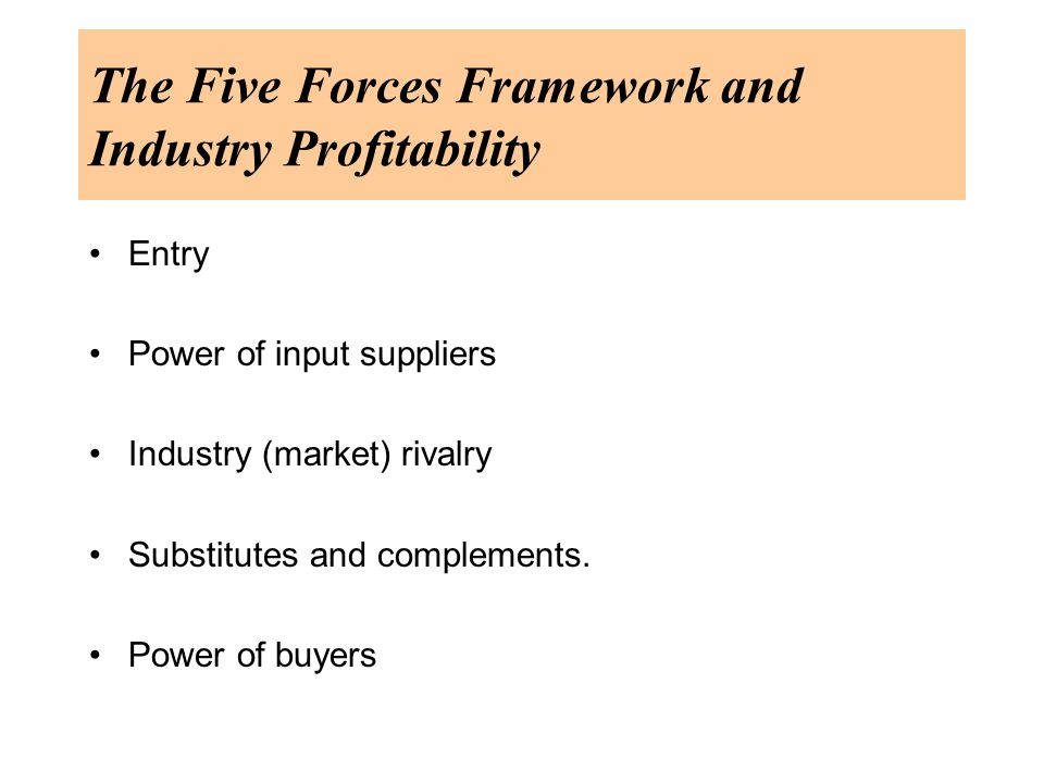 The Five Forces Framework and Industry Profitability Entry Power of input suppliers Industry (market) rivalry Substitutes and complements.