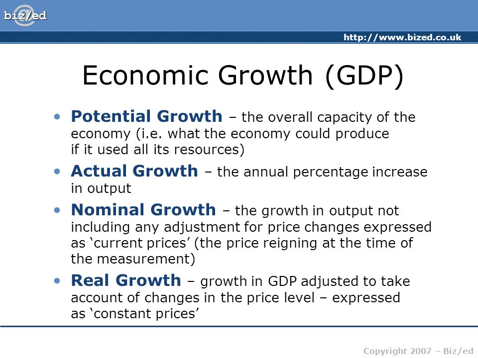 http://www.bized.co.uk Copyright 2007 – Biz/ed The Business Cycle Growth (NY) Time Potential Growth Actual Growth Recession/Slump Growth/Upturn Boom/Overheating Decline/slowdown