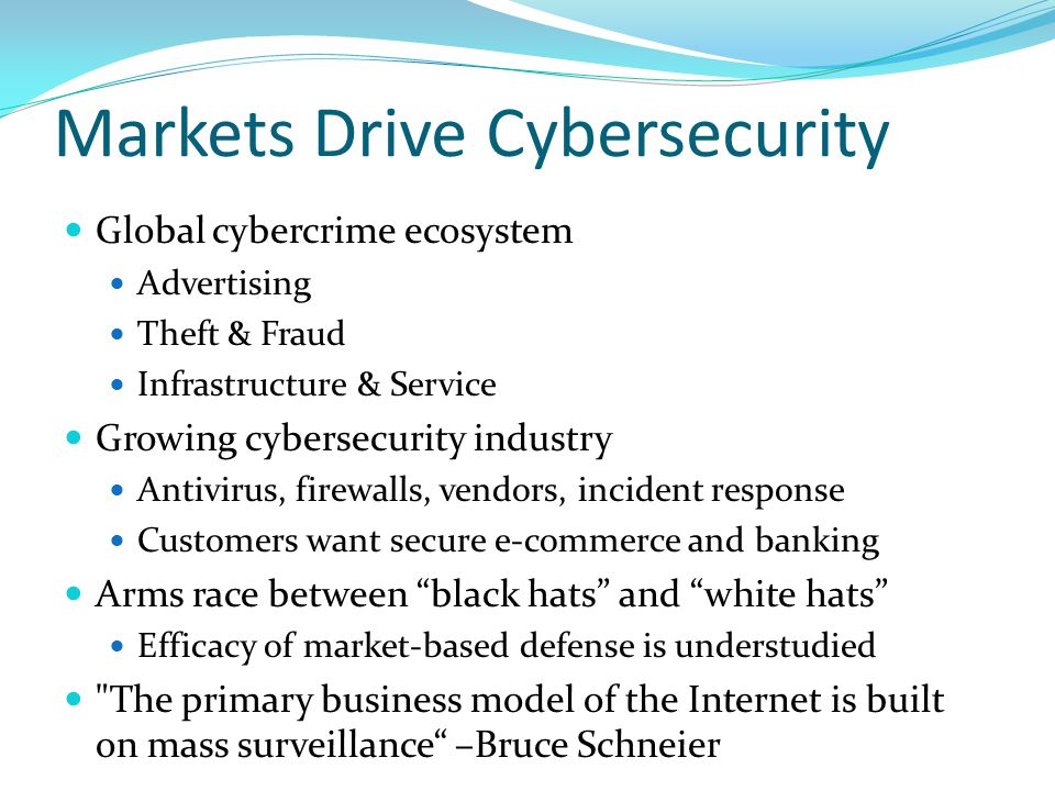 Markets Drive Cybersecurity Global cybercrime ecosystem Advertising Theft & Fraud Infrastructure & Service Growing cybersecurity industry Antivirus, firewalls, vendors, incident response Customers want secure e-commerce and banking Arms race between black hats and white hats Efficacy of market-based defense is understudied The primary business model of the Internet is built on mass surveillance –Bruce Schneier